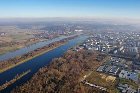 Aerial view of the Seine river at Mantes-la-Jolie, in the Yvelines department (78200), Ile-de-France region, France - January 03, 2010