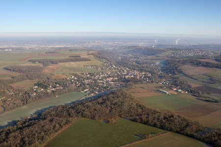 Aerial view of the commune of Vert and the valley of the Seine on the horizon, in the Yvelines department (78930), Ile-de-France region, France - January 03, 2010