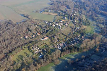 Aerial photography of Courgent village in Yvelines department (78790), Ile-de-France region, France - January 03, 2010