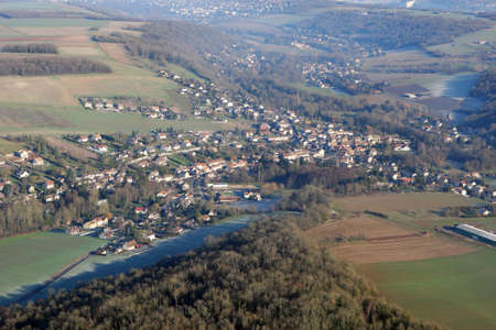 Aerial photography of Municipality of Vert, in Yvelines department (78930), Ile-de-France region, France - January 03, 2010 Banque d'images