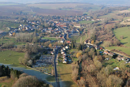 Chaussy village seen from the sky, a small rural French village in Vexin, in the Val-d'Oise department (95710); Ile-de-France region, France - January 03, 2010