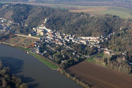 Aerial view of La Roche-Guyon castle en Vexin, in the Val-d'Oise department (95780), Ile-de-France region, France - January 03, 2010