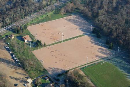 Aerial photography of soccer field in Mantes-la-Jolie, Yvelines department, Ile-de-France region, France - January 03, 2010