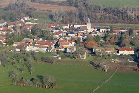 Aerial view of Chaussy en vexin, a small rural French village in Vexin with its church, in the Val-d'Oise department (95710); Ile-de-France region, France - January 03, 2010