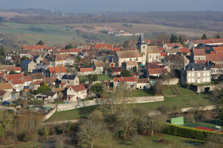 Omerville, France - January 03, 2010: Aerial view of Omerville, a small rural village of Vexin grouped around its church, in Val-d'Oise department (95420), Ile-de-France region