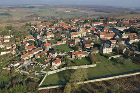 Omerville, France - January 03, 2010: Aerial photography of Omerville, a small rural village of Vexin grouped around its church, in Val-d'Oise department (95420), Ile-de-France region