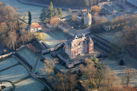 Rosay, France - January 03, 2010: Aerial view of the Haut Rosay castle in the Yvelines department (78790), Ile-de-France region, France