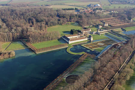 Chaussy, France - January 3, 2010: Aerial photographye of Villarceaux castle and estate garden in the department of Val-d'Oise (95710); Ile-de-France region, France
