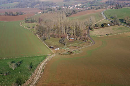 Aerial view of Chaussy, Val-d'Oise department in Ile-de-France, Canton of Magny-en-Vexin