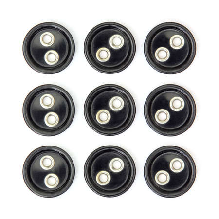 Set of nine large black sewing buttons cut out and isolated on square white background Banque d'images