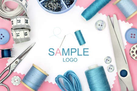 Pink and blue design element for sewing product design with set of seamstress tools, scissors, tape measure, button and spool of threads