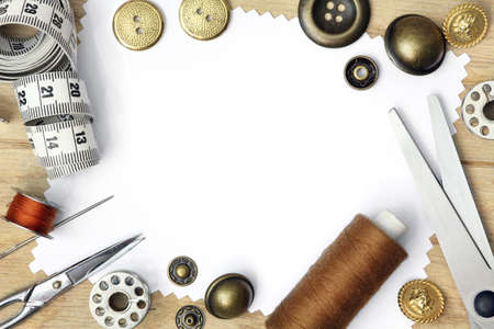 Brown sepia template for sewing product with white background and set of seamstress tools, scissors, tape measure, button and spool of threads