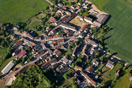 Aerial view of Sery rural village, in the Yonne department, Bourgogne-Franche-comte region, France