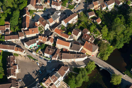 Aerial photo of the rural village of Arcy-sur-Cure 89270, in the Yonne department, Bourgogne-Franche-Comté region, France Banque d'images