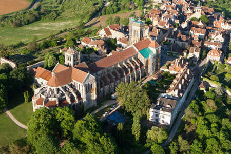 Aerial photograph of Sainte-Marie-Madeleine de Vézelay basilica, in Yonne department 89450, Bourgogne-Franche-comte region, France