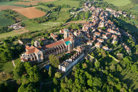 Aerial photo of Vézelay Basilica, in L'yonne department 89450, Bourgogne-Franche-comte region, France