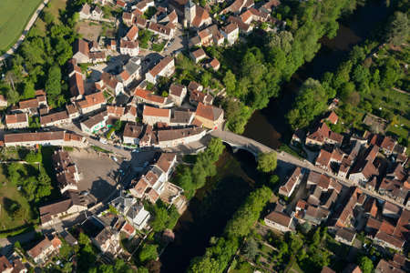 Aerial view of Arcy-sur-Cure rural village, in the Yonne department, Bourgogne-Franche-comte region, France