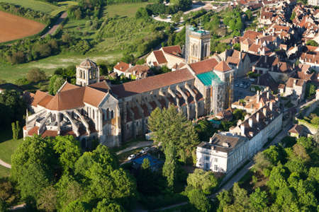 Aerial view of Sainte-Marie-Madeleine Basilica in Vézelay, Yonne department 89450, Bourgogne-Franche-comte region, France