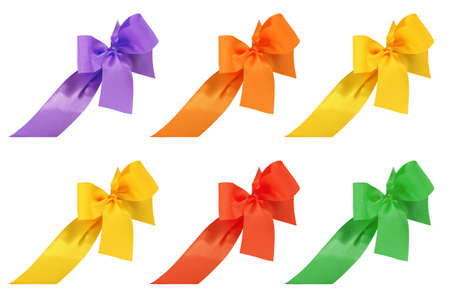 Set of multicolored decorative ribbon and bow cut out and isolated on white background Banque d'images