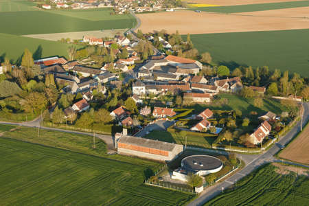 Aerial view of Brétonville, hamlet of Boinville-le-Gaillard, located in the south of the Yvelines department, Île-de-France region, France. Municipality of the natural Beauce bordering Ablis.