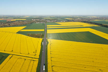 Aerial photograph of rapeseed fields in Beauce with the national road, town of Gué-de-Longroi, department of Eure-et-Loir in Center-Val de Loire region, France.