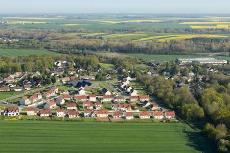 Aerial photography Le Gué-de-Longroi village, located in Beauce en Eure-et-Loir department in the Center-Val de Loire region, France.