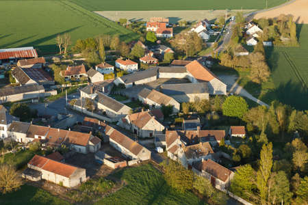 Brétonville, Boinville-le-Gaillard seen from the sky in Yvelines department, Île-de-France region, France. Municipality of the natural Beauce bordering Ablis.