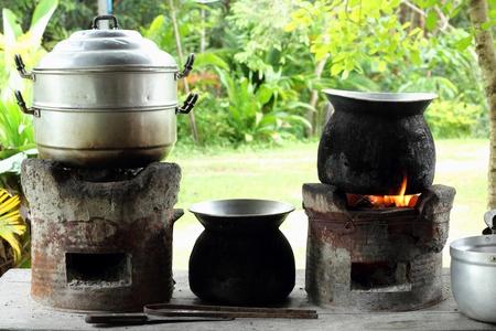 kitchen in rural Thailand Standard-Bild