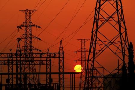 High voltage electric pillar in Thailand photo