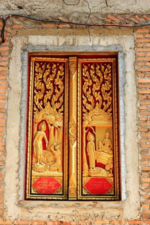 Thai style molding  art  on window temple  construction      photo