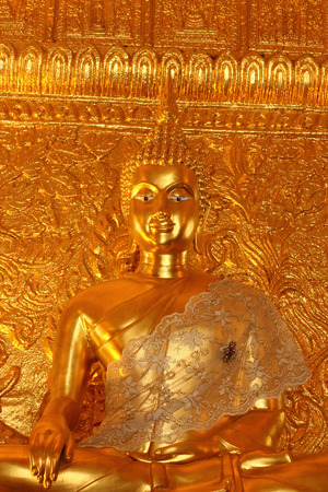 Golden  Buddha  image  in  Thai temple photo