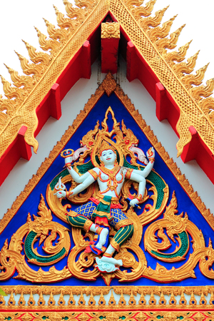 colorful  of  molding   on  pediment  of Thai temple photo