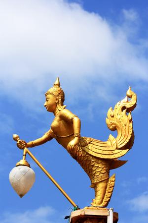 Thai style light pillar in thai temple    photo