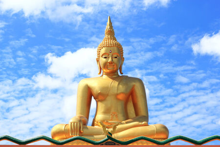 buddhist structures: big Buddha  statue on blue sky background