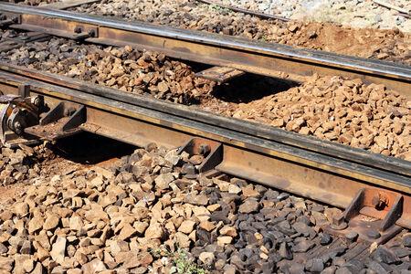 repairing change railway sleepers  to concrete sleepers photo