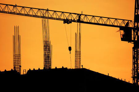 Construction site with crane on  sunset    photo