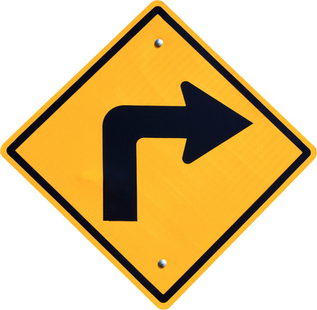 turn right yellow road sign on white background  Standard-Bild