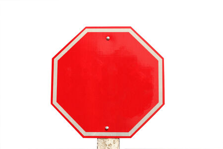 empty traffic stop sign on white background photo