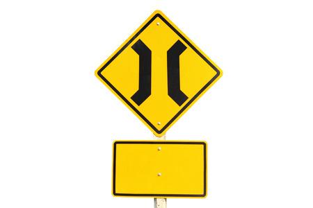 constraint: Narrow bridge traffic sign  Stock Photo