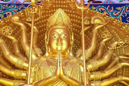 quan yin: golden quan yin thousand hands buddhist goddess of mercy statue