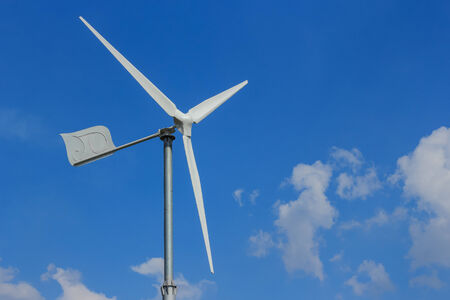 wind energy turbine power from natural on blue sky photo