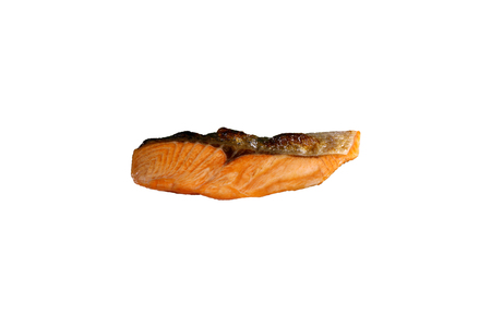 salmon fish barbecue grill on white  background photo
