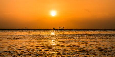 sunset on pattaya beach in  thailand  photo