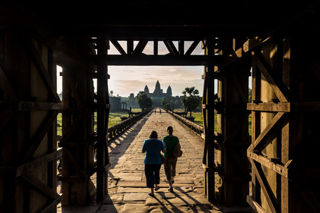 west gate: angkor wat from the west gate on sunrise
