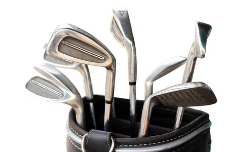 metal golf club set in carrier bag