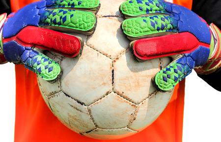 portero de futbol: Portero de f�tbol atrapar pelota con las manos