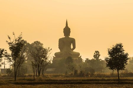 back of big golden buddha statue in thai temple on sunrise with fog photo