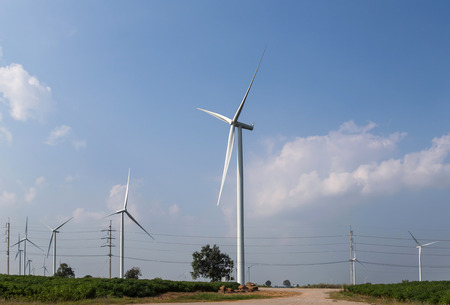 wind power: wind turbines generating electricity renewable energy