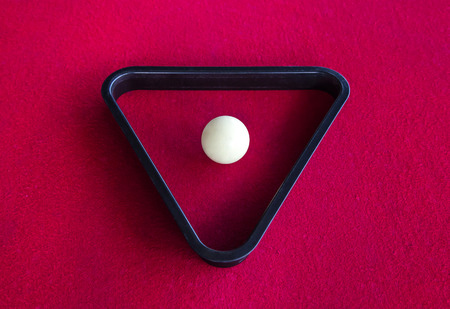 billiards halls: snooker white ball in triangle on pool table