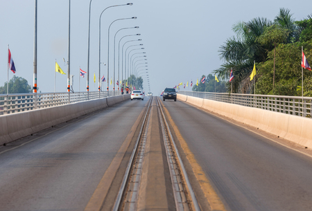 first australians: The first thai� lao friendship bridge over the mekong river, connecting Nong Khai province in thailand with vientiane prefecture in laos. Stock Photo